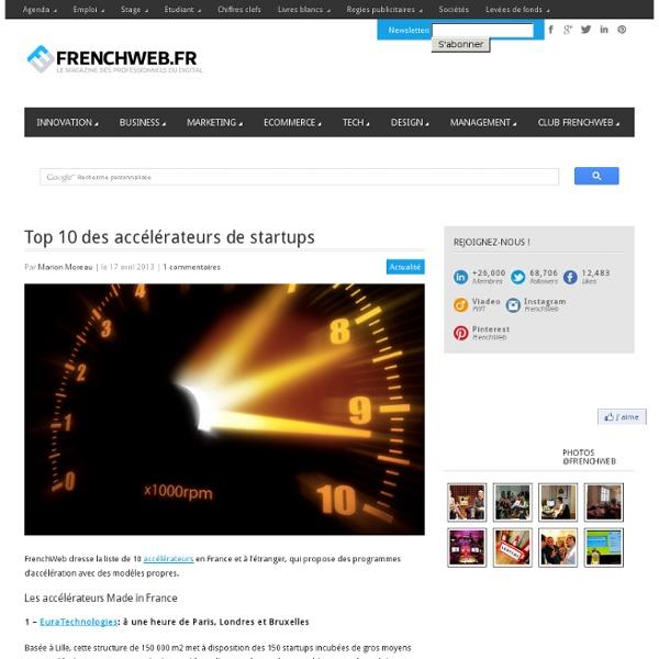 Top 10 des accélérateurs de startups