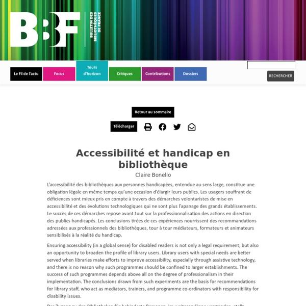 Accessibilité et handicap en bibliothèque
