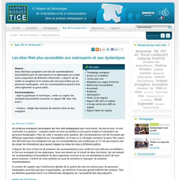 L'Agence nationale des Usages des TICE - Les sites Web plus accessibles aux malvoyants et aux dyslexiques