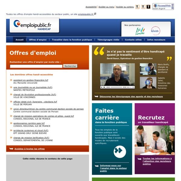 Toutes les offres d'emploi handi-accessibles du secteur public - emploipublic-handicap.fr
