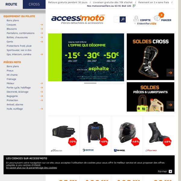 Equipement motard, Accessoires moto et Pièces détachées moto - Access-Moto.com