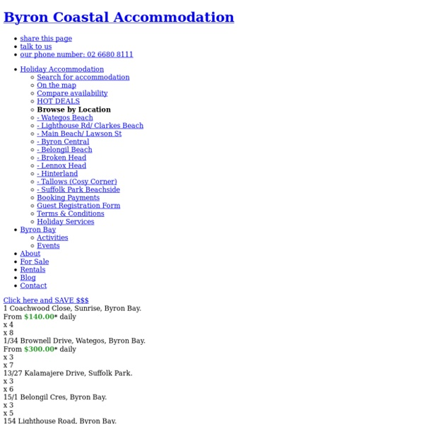 Byron Bay Holiday Accommodation, Rentals, Houses, Apartments, Deals