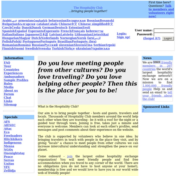 Free Accommodation world wide through Hospitality Exchange - Hospitality Club