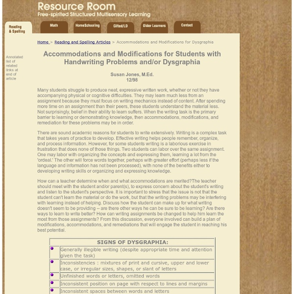 Accommodations & Modifications ... Dysgraphia