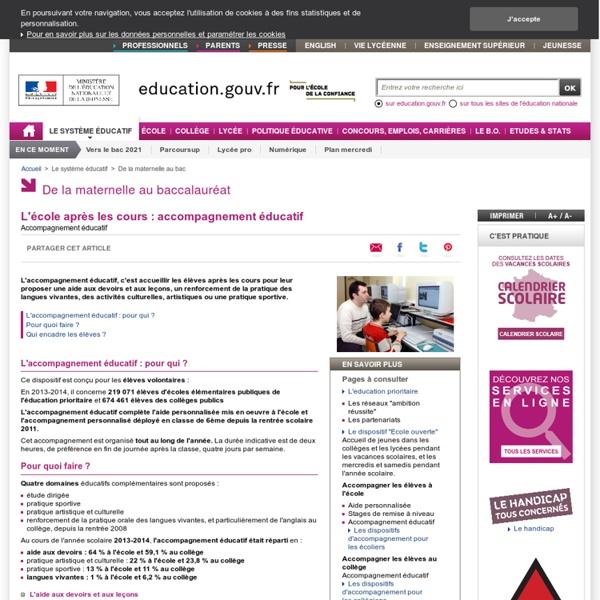 Accompagnement éducatif - Ministère de l'éducation nationale