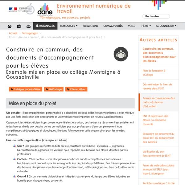 Construire en commun, des documents d'accompagnement pour les élèves - Environnement numérique de travail