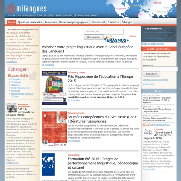 Le site d'accompagnement pour les sections européennes ou de langues orientales