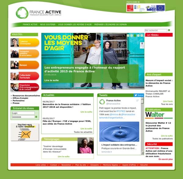 France Active, aide et accompagnement à la création d'entreprise, financement de projet, crédit solidaire