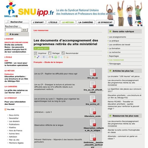 Les documents d'accompagnement des programmes retirés du site ministériel