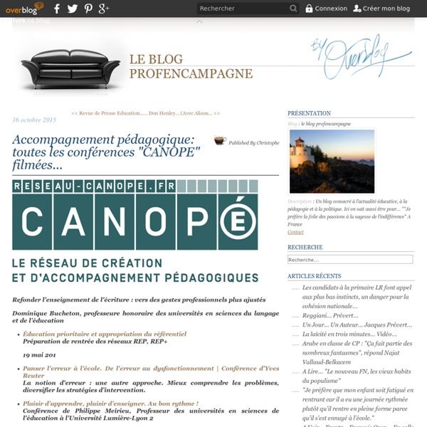 """Accompagnement pédagogique: toutes les conférences """"CANOPE"""" filmées..."""