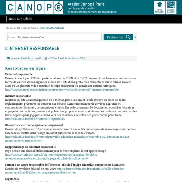 L'internet responsable - CRDP de Paris - Centre Régional de Documentation Pédagogique de Paris
