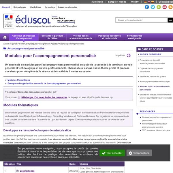 Accompagnement personnalisé - Modules pour l'accompagnement personnalisé
