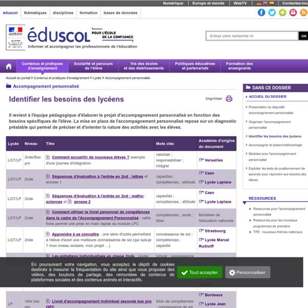 Ressources pour l'accompagnement personnalisé - Identifier les besoins des lycéens