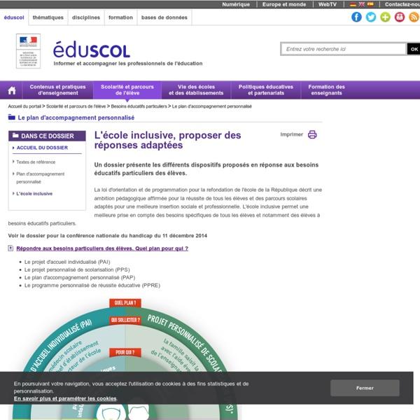 Le plan d'accompagnement personnalisé - L'école inclusive