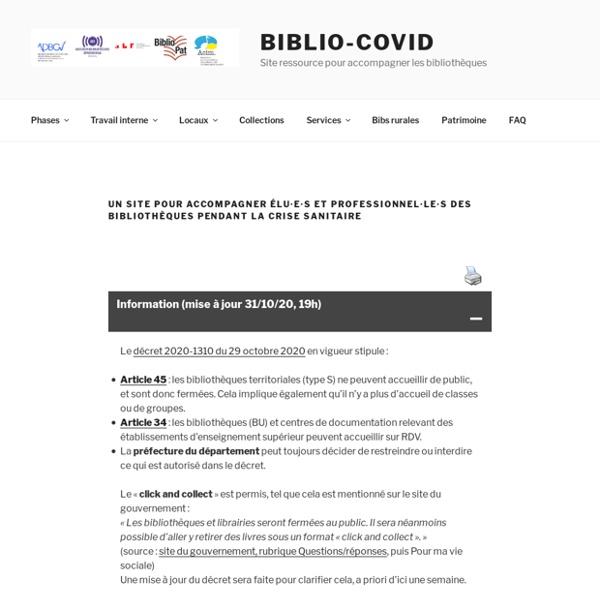 Biblio-Covid – Site ressource pour accompagner le déconfinement en bibliothèque