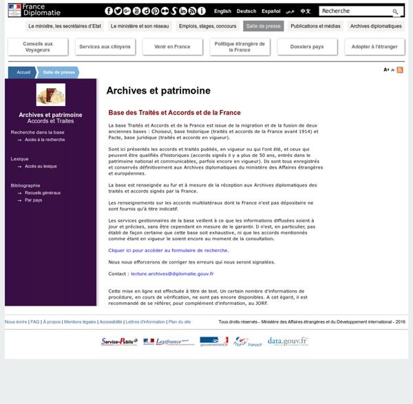 BASE PACTE - Traités et accords de la France