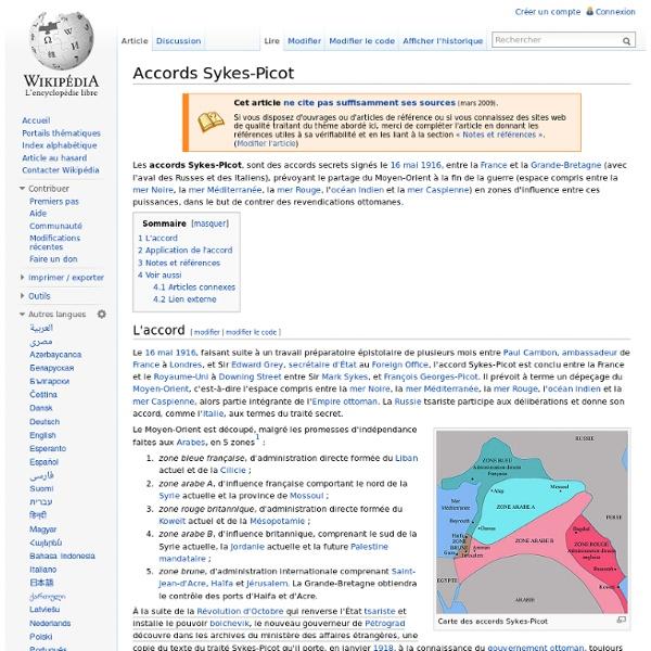 Mai 1916 Accords secrets Sykes-Picot