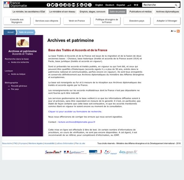Accords & Traités archives France
