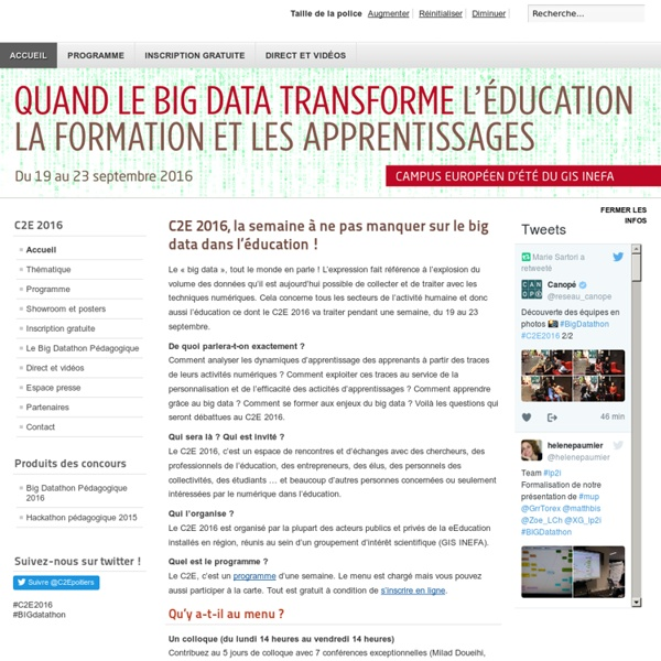 Le big data : les enjeux pour l'éducation, la formation et les apprentissages