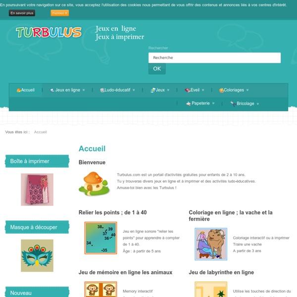 Accueil - Turbulus, jeux gratuits pour enfants