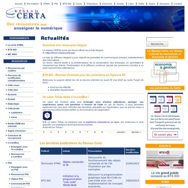 Réseau CERTA - Accueil