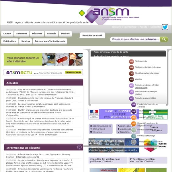Accueil - ANSM : Agence nationale de sécurité du médicament et des produits de santé
