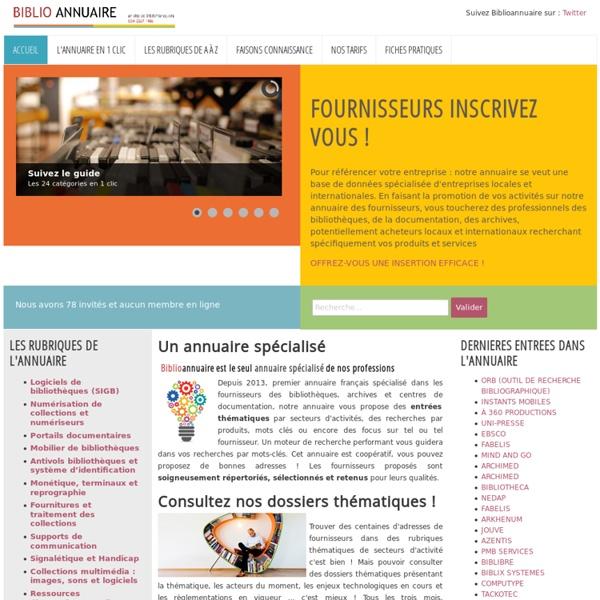 Biblioannuaire.fr - Annuaire des fournisseurs pour bibliothèques - Accueil