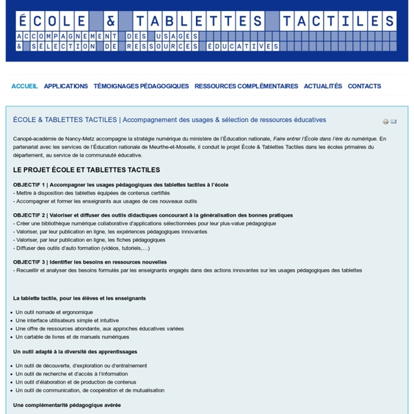 Ecole et tablettes tactiles