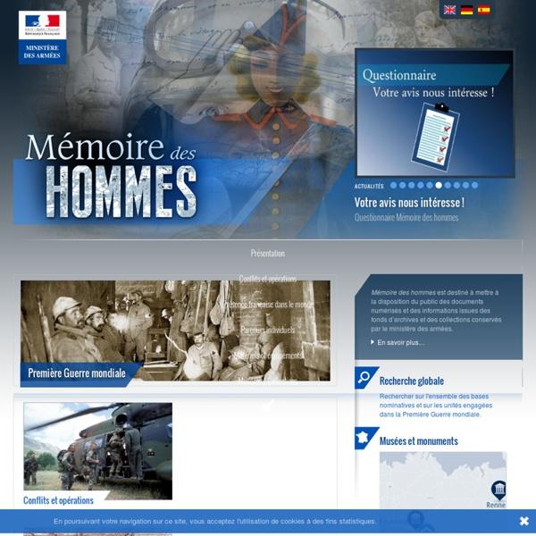 Accueil - Mémoire des Hommes