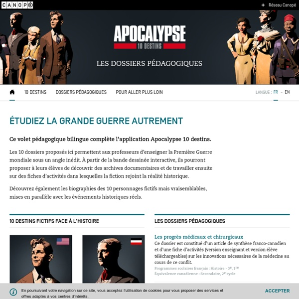 Apocalypse 10 destins : site interactive sur la deuxième guerre mondiale
