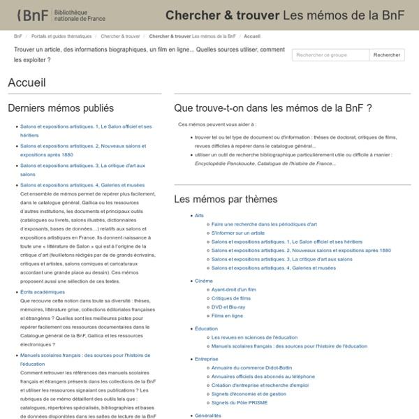 Chercher & trouverLes mémos de la BnF