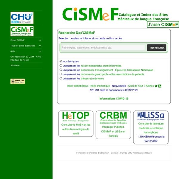 Accueil CISMeF : Catalogue et Index des Sites Médicaux de langue Française