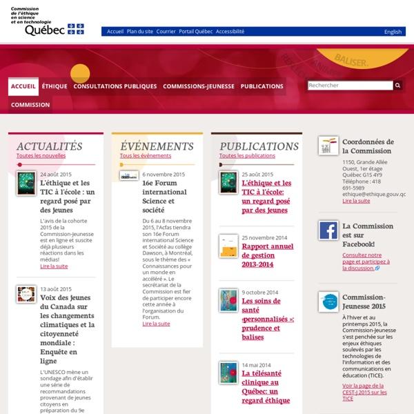 Accueil - Commission de l'éthique en science et en technologie