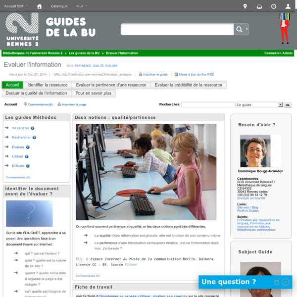 Evaluer l'information ( Méthodoc. BU Rennes 2)