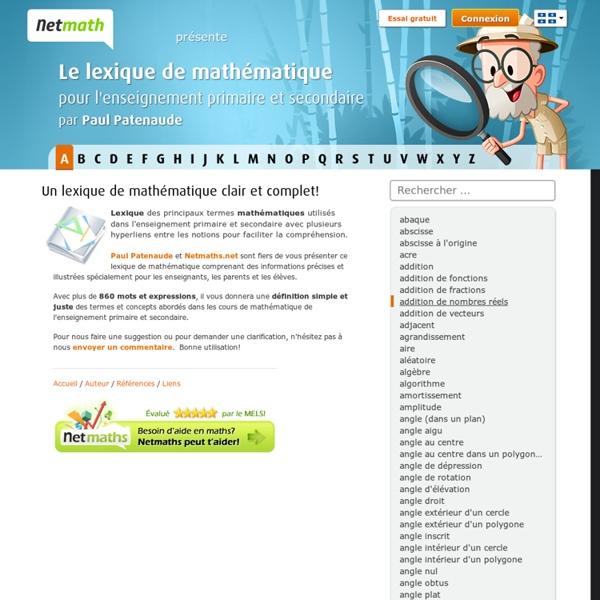 Accueil - Lexique de mathématique, par Paul Patenaude - Netmath