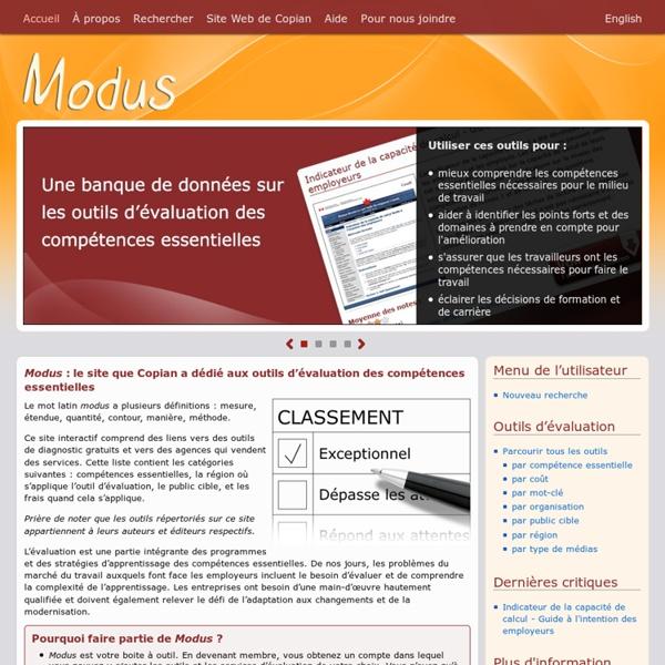 MODUS - Outils Evaluations compétences essentielles