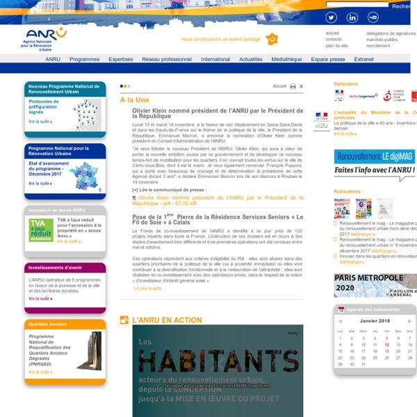 Accueil - ANRU - Agence nationale pour la Rénovation Urbaine