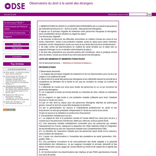 Accueil du site - Observatoire du droit à la santé des étrangers