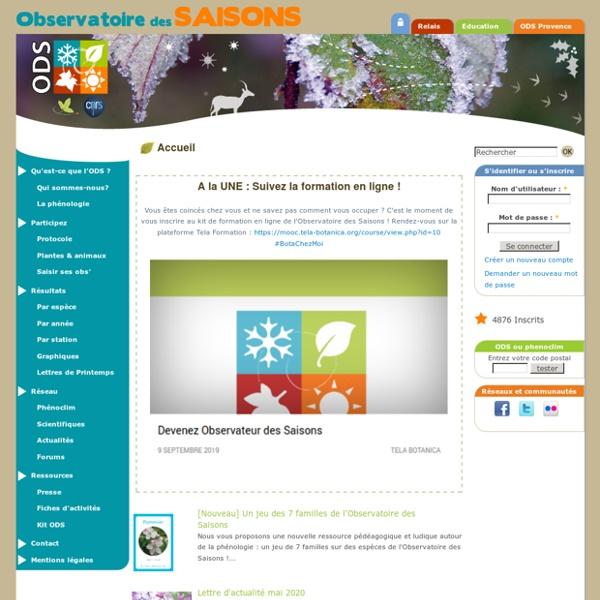 Observatoire des saisons - L'Observatoire Des Saisons est un programme scientifique et pédagogique qui invite les citoyens à mes
