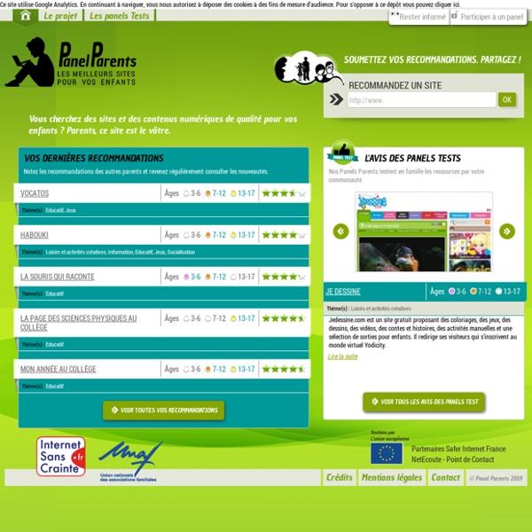 Panel Parents - Les meilleurs sites pour vos enfants