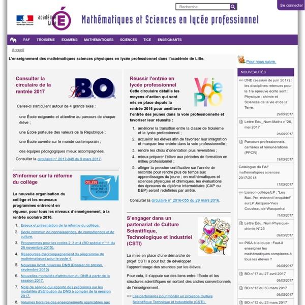 Lille — Maths sciences en LP