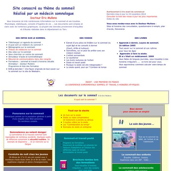 Accueil du site Sommeil Vigilance Somnolence-