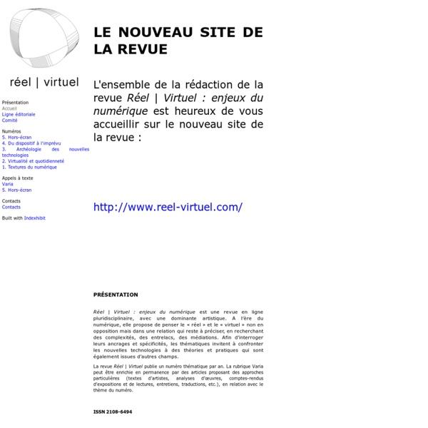 Accueil : Revue Réel-virtuel : enjeux du numérique