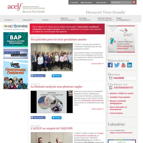 SITE + RSS : ACELF [Association canadienne d'éducation de langue française - Revue Éducation et francophonie]