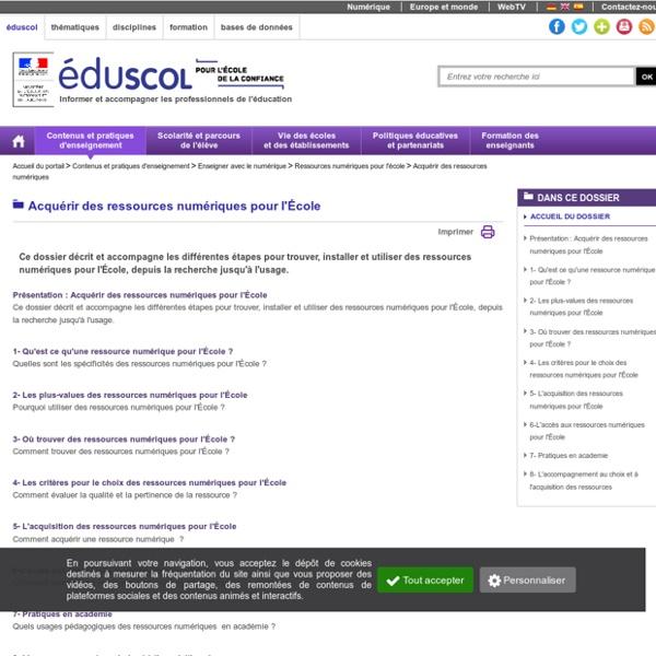 Acquérir des ressources numériques pour l_Ecole