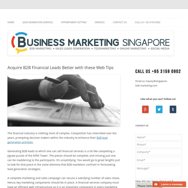 Acquire B2B Financial Leads Better with these Web Tips