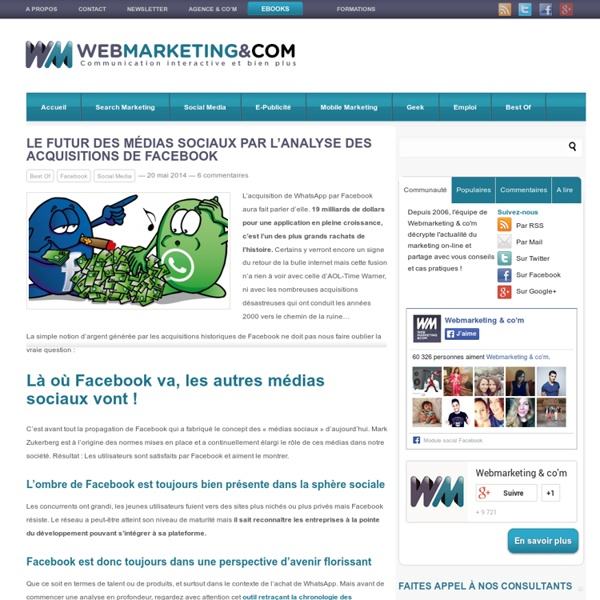 Le futur des médias sociaux par l'analyse des acquisitions de Facebook