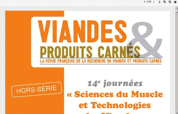 14e journées « Sciences du Muscle et Technologies des Viandes »13 et 14 novembre 2012 à CaenAu sommaire notamment :Outils de la