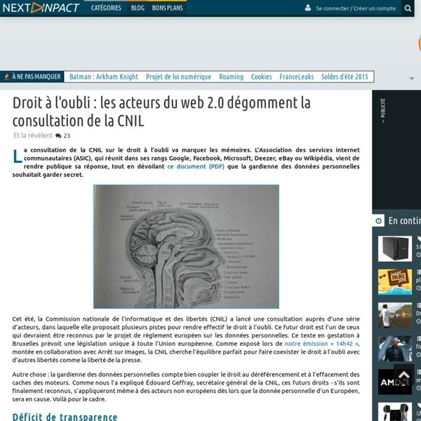Droit à l'oubli : les acteurs du web 2.0 dégomment la consultation de la CNIL