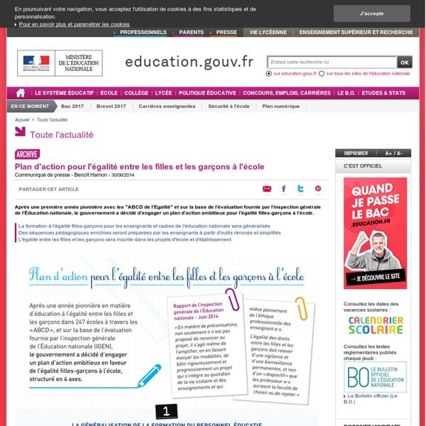 Plan d'action pour l'égalité entre les filles et les garçons à l'école